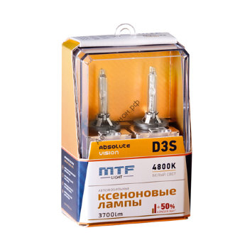 Ксеноновые лампы MTF Light D3S, ABSOLUTE VISION +50%, 3800lm, 4800K, 35W, 42V, 2шт.